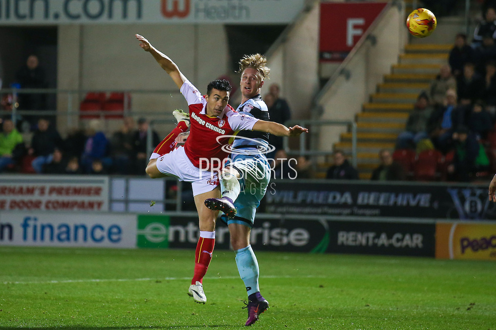 Queens Park Rangers  forward Sebastian Polter (17) wins a header during the EFL Sky Bet Championship match between Rotherham United and Queens Park Rangers at the New York Stadium, Rotherham, England on 10 December 2016. Photo by Simon Davies.