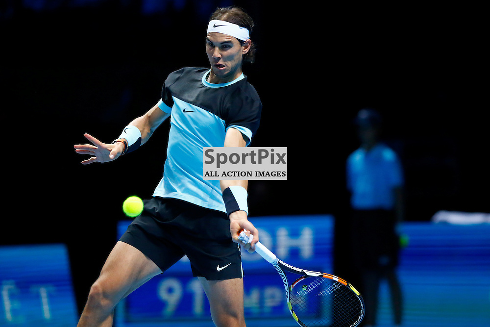 Rafael Nadal returns a shot. ATP Finals 2015 at O2 Arena, London. Stanislas Wawrinka plays Rafael Nadal in their first match in the Group Ilie Nastase. 16th November 2015. (c) Matt Bristow | SportPix.org.uk