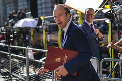 © Licensed to London News Pictures. 23/07/2019. London, UK. Secretary of State for Health and Social Care Matt Hancock arrives on Downing Street for the final Cabinet meeting under Prime Minister Theresa May. The result of the Conservative Party leadership contest will be announced this morning. Photo credit: Rob Pinney/LNP