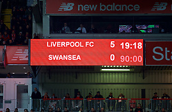 LIVERPOOL, ENGLAND - Boxing Day, Tuesday, December 26, 2017: Liverpool's scoreboard records the 5-0 victory over Swansea City during the FA Premier League match between Liverpool and Swansea City at Anfield. (Pic by David Rawcliffe/Propaganda)