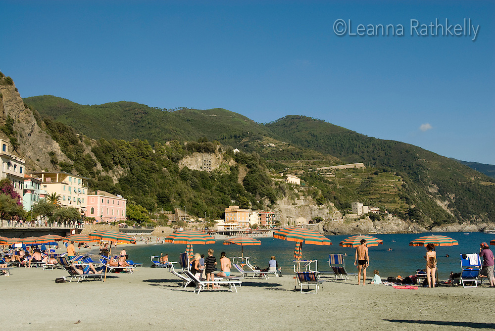 The beach at Monterosso al Mare is a sunny relaxing place to hang out.