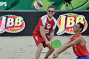 Cezary Pazura (L) while exhibition match of Special Olympics Poland during Day 7 of the FIVB World Championships on July 7, 2013 in Stare Jablonki, Poland. <br /> <br /> Poland, Stare Jablonki, July 07, 2013<br /> <br /> Picture also available in RAW (NEF) or TIFF format on special request.<br /> <br /> For editorial use only. Any commercial or promotional use requires permission.<br /> <br /> Mandatory credit:<br /> Photo by &copy; Adam Nurkiewicz / Mediasport