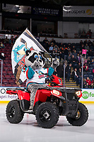 KELOWNA, CANADA - MARCH 2:  Rocky Raccoon, the mascot of the Kelowna Rockets rides onto the ice on his new Polaris quad against the Portland Winterhawks on March 2, 2019 at Prospera Place in Kelowna, British Columbia, Canada.  (Photo by Marissa Baecker/Shoot the Breeze)