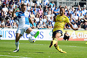 Goalscorer Kemar Roofe shoots during the Sky Bet League 2 match between Bristol Rovers and Oxford United at the Memorial Stadium, Bristol, England on 6 September 2015. Photo by Alan Franklin.