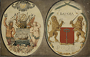 The Arms of the Dutch East India Company and of the Town of Batavia, Jeronimus Becx (II), 1651<br /> <br /> oil on panel, h 63cm × w 97cm. More details<br /> <br /> These shields feature the arms of the Dutch East India Company, ornamented with Neptune and a mermaid, and those of Batavia, flanked by Dutch lions. According to the inscription on the latter, the city of Jacatra (now Jakarta) was 'Conquered on 30 May in the year 1619'. That same year Governor-General Jan Pietersz Coen renamed it Batavia and built a castle with dockyards, warehouses and offices.