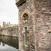 Fortifications around the outside of Bishop's Palace in Wells, Somerset, England.