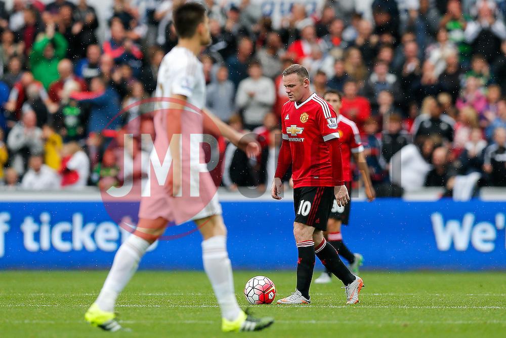 Wayne Rooney of Manchester United looks dejected after Bafetibis Gomis of Swansea City scores a goal to make it 2-1 - Mandatory byline: Rogan Thomson/JMP - 07966 386802 - 30/08/2015 - FOOTBALL - Liberty Stadium - Swansea, Wales - Swansea City v Manchester United - Barclays Premier League.