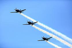 The RNZAF Black Falcons aerobatic team preforming at the Tauranga City Airshow, Tauranga, New Zealand, Saturday, January 20,  2018. Credit:SNPA / Richard Moore **NO ARCHINVING**