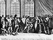 In 1565 led by Louis of Nassau and Henry of Brederode, the League of Nobles advanced. Hendrik van Brederode became a convert to the Reformed faith and placed himself at the side of the prince of Orange and Count of Egmont in resisting the introduction of the Spanish Inquisition and Spanish despotism into the Netherlands. In 1566 he was one of the founders of the League of nobles who bound themselves to maintain the rights and liberties of the country by signing a document known as the Compromise of Nobles. On April 5 of that year Brederode accompanied to the palace a body of 300 Knights, for whom he acted as the spokesman, to present to the regent, Margaret of Parma, a petition setting forth their grievances. It was at a banquet at the Hotel Culemburg on April 8, presided over by Bréderode, that the sobriquet of les Gueux, or 'the Beggars,' was first given to the opponents of Spanish rule. Bréderode, the 'Grote Geus' or big beggar, was banished from the Netherlands by Alva, and died in exile shortly afterwards at the early age of thirty-six.