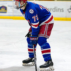 COCHRANE, ON - MAY 1: Jack Lyons #72 of the Oakville Blades prepares for the face-off on May 1, 2019 at Tim Horton Events Centre in Cochrane, Ontario, Canada.<br /> (Photo by Christian Bender / OJHL Images)