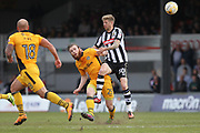 Mark O'Brien challenged by Jonathan Stead during the EFL Sky Bet League 2 match between Newport County and Notts County at Rodney Parade, Newport, Wales on 6 May 2017. Photo by Daniel Youngs.