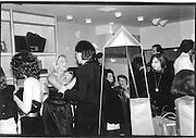 Liz Brewer at a shop opening. Knightsbridge 1980.© Copyright Photograph by Dafydd Jones 66 Stockwell Park Rd. London SW9 0DA Tel 020 7733 0108 www.dafjones.com