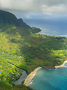Aerial view of Haena and Wainiha Beach on the northern coast of Kauai, Hawaii on a cloudy day.