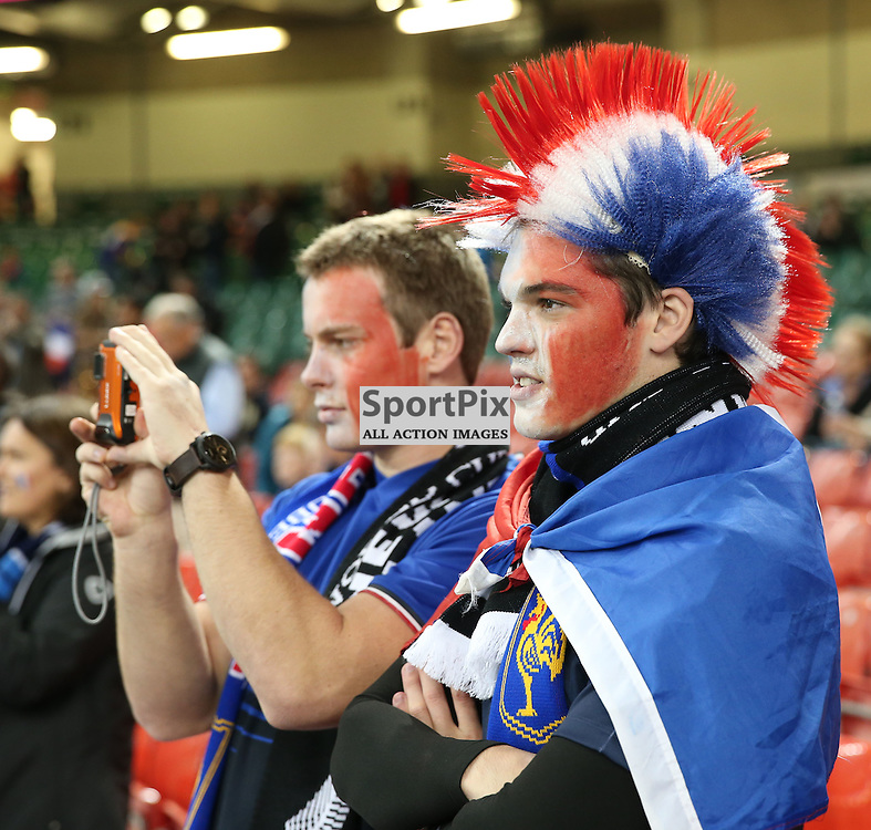 French supporters before the Rugby World Cup Quarter Final, New Zealand v France, Saturday 17 October 2015, Millenium Stadium, Cardiff (Photo by Mike Poole - Photopoole)