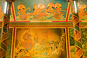 14 MARCH 2006 - PHNOM PENH, CAMBODIA:  Scenes from the Ramayana painted on the walls and ceiling in Wat Phnom in Phnom Penh, Cambodia. Wat Phnom (Wat is Temple, Phnom is hill in Cambodian) is the legendary founding place of Phnom Penh. The temple was founded in 1372, the temple is one of the most important religious landmarks in Cambodia. The Ramayana tells the story of Rama, whose wife Sita was abducted by the demon (Rakshasa) king of Lanka, Ravana. Thematically, the epic explores themes of human existence and the concept of dharma. It is revered throughout the Theravada Buddhist world (Cambodia, Laos, Thailand and Burma).  PHOTO BY JACK KURTZ