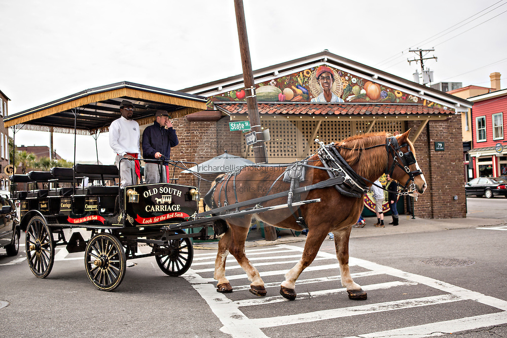 Horse drawn carriage at the Historic Charleston City Market on Market Street in Charleston, SC.