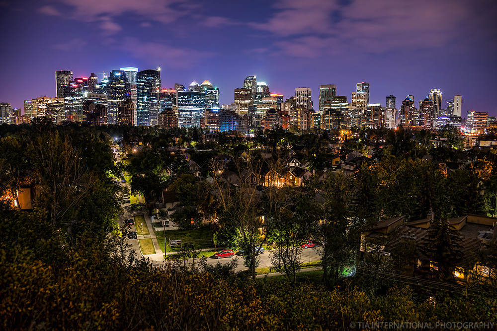 Sunnyside Neighborhood & Calgary Skyline @ Night