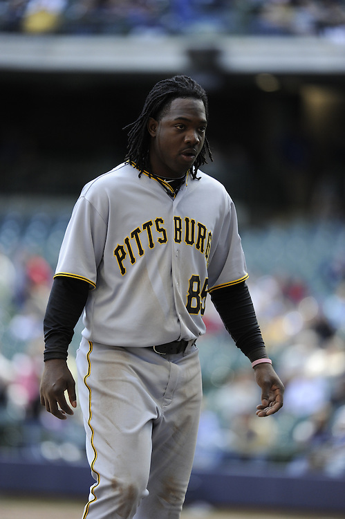 MILWAUKEE - APRIL 28:  Lastings Milledge #85 of the Pittsburgh Pirates looks on against the Milwaukee Brewers on April 28, 2010 at Miller Park in Milwaukee, Wisconsin.  The Pirates defeated the Brewers 6-5 in 14 innings.  (Photo by Ron Vesely)