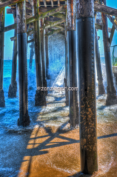 Seal Beach, CA, LA, Beach, Pier, Pilings Waves Crashing, under Boardwalk, Dramatic