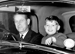 HRH The Duke of Edinburgh and his son Prince Andrew leave Buckingham Palace by car to go to Windsor Castle for Christmas