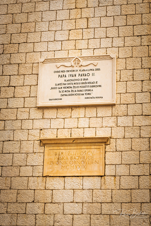 Plaque at Sponza Palace in old town Dubrovnik, Dalmatian Coast, Croatia