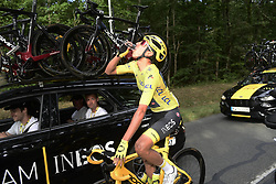 July 28, 2019, France: PARIS, FRANCE - JULY 28 : Champagne for BERNAL Egan (COL) of Team INEOS during stage 21 of the 106th edition of the 2019 Tour de France cycling race, a stage of 128 kms between Rambouillet and Paris Champs-Elysees on July 28, 2019 in Paris, France, 28/07/2019 (Credit Image: © Panoramic via ZUMA Press)