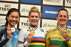 04-03-2018 BAANWIELRENNEN: UCI WK BAANWIELRENNEN: APELDOORN<br /> Nicky Degrendele (BEL) wint goud op de Keirin voor vrouwen. Sze Lee Wai (HKG) zilver en Simo9na Krupeckaite (LTU) brons.<br /> <br /> Foto: Margarita Bouma