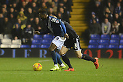 Birmingham City midfielder Jacques Maghoma on the ball during the Sky Bet Championship match between Birmingham City and Brentford at St Andrews, Birmingham, England on 2 January 2016. Photo by Alan Franklin.