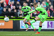 Forest Green Rovers George Williams(11) shoots at goal, tipped over by Lincoln City Matthew Gilks(18) during the EFL Sky Bet League 2 match between Forest Green Rovers and Lincoln City at the New Lawn, Forest Green, United Kingdom on 2 March 2019.