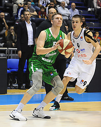 Gregor Hrovat #15 of KK Union Olimpija, Vanja Marinkovic #9 of Partizan during basketball match between KK Partizan Beograd and KK Union Olimpija Ljubljana in Round #5 of ABA League 2016/17, on October 16, 2016 in Beograd, Serbia. Photo by Nebojsa Parausic / Sportida