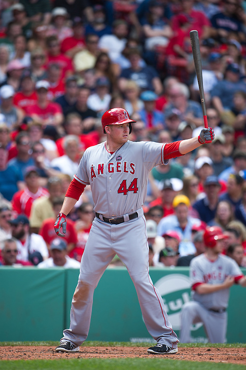 BOSTON, MA - JUNE 09: Mark Trumbo #44 of the Los Angeles Angels bats during the game against the Boston Red Sox at Fenway Park in Boston, Massachusetts on June 9, 2013. (Photo by Rob Tringali) *** Local Caption *** Mark Trumbo