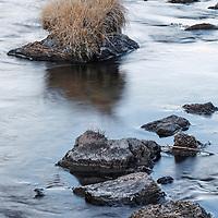 Hot Creek rocks and dry grass, Mammoth, California