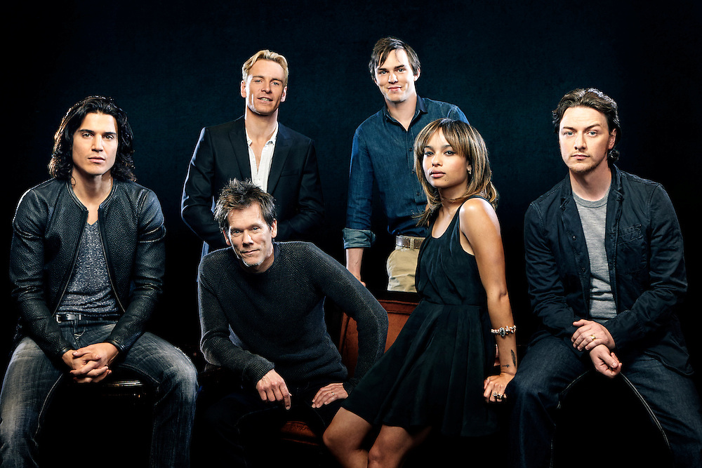 From Left to Right: Alex Gonzalez, Kevin Bacon, Michael Fassbender, Nick Holt, Zoe Kravitz and James McAvoy