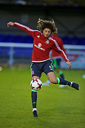 BANGOR, WALES - Tuesday, November 15, 2016: Wales' Ethan Ampadu warms-up before the UEFA European Under-19 Championship Qualifying Round Group 6 match against Luxembourg at the Nantporth Stadium. (Pic by David Rawcliffe/Propaganda)