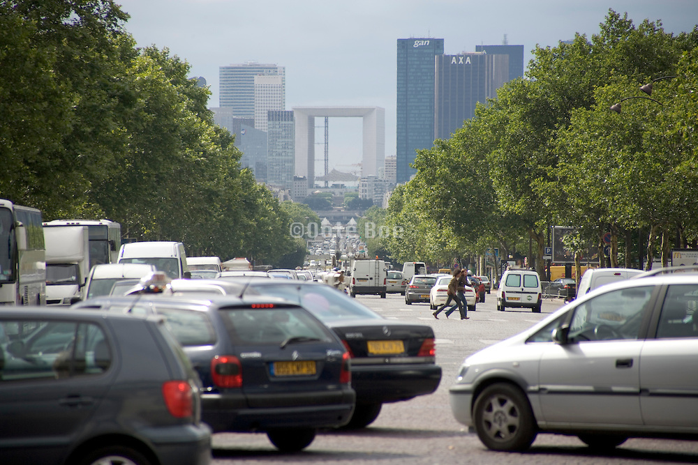 Paris avenue de la Grande Armee looking towards La Defense