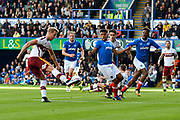 Adam Thompson (2) of Bradford City lines up to shoot at goal during the EFL Sky Bet League 1 match between Portsmouth and Bradford City at Fratton Park, Portsmouth, England on 28 October 2017. Photo by Graham Hunt.