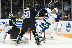 March 10, 2011; San Jose, CA, USA;  during the first period at HP Pavilion. Vancouver defeated San Jose 5-4 in shootouts. Mandatory Credit: Jason O. Watson / US PRESSWIRE