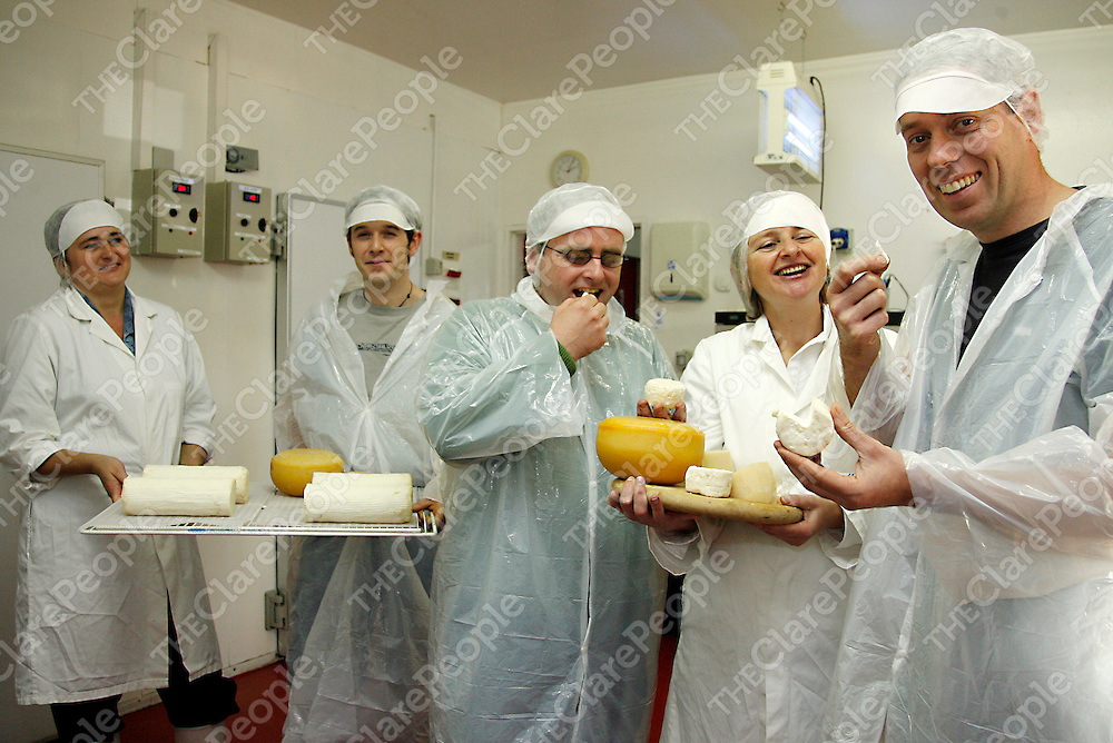 Chefs from Dromoland Castle travelled up to sample some of the produce at an open day at St. Tolas Organic Goats Cheese farm in Inagh on Thursday.<br /><br />From left: Carmen Gal (Sr. Tolas), Vincent Callaghan (Chef), Fergal McGee (Chef), Siobhain Ni Ghairbhith (Producer) and David McCann ( Executive Head Chef at Dromoland Castle).<br /><br /><br /><br />Photograph by Yvonne Vaughan.