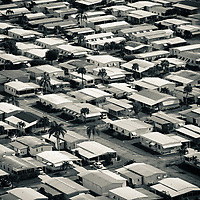 Close up aerial view of a manufactured home park.