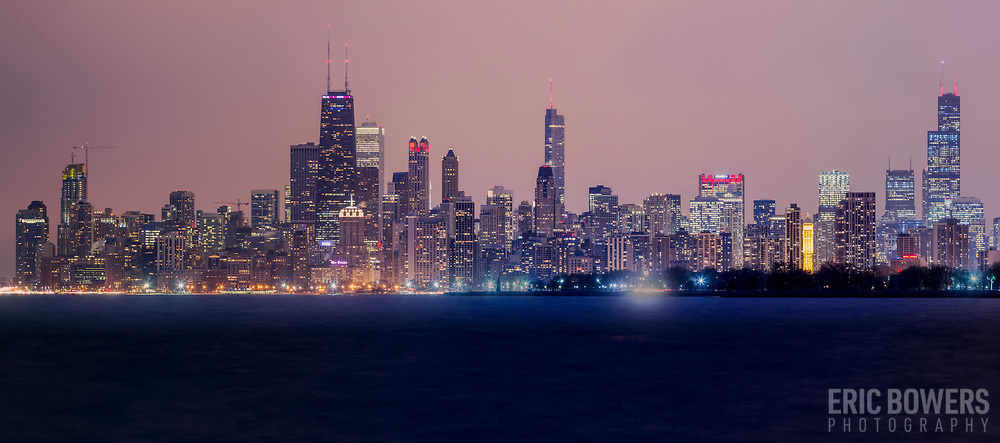 Chicago Skyline Panorama from Montrose Beach