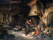 The Alchemist' 1661. Oil on panel. Adriaen van Ostade (1610-1685) Dutch genre painter. Alchemist applying bellows to furnace. Around him are utensils used in his 'art' including an alembic for distillation. Science Chemistry