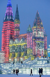 Evening view of spectacular ice sculptures in Harbin, China during annual Ice lantern festival 2009