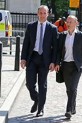 © Licensed to London News Pictures. 23/07/2019. London, UK. Dominic Raab arrives for the result of the Conservative Party leadership race at  QEII Centre. Photo credit: Dinendra Haria/LNP