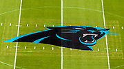 Sunday, October 6, 2019; Charlotte, N.C., USA;  A general view of the Carolina Panthers logo at midfield prior to an NFL game with the Jacksonville Jaguars at Bank of America Stadium. The Carolina Panthers beat the Jacksonville Jaguars 34-27. (Brian Villanueva/Image of Sport)