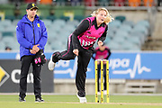 Jess Watkin bowling. Women's T20 international Cricket, Australia v New Zealand White Ferns.  Manuka Oval, Canberra, 5 October 2018. Copyright Image: David Neilson / www.photosport.nz