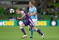 January 19, 2019 - Melbourne, VIC, U.S. - MELBOURNE, VIC - JANUARY 19: Perth Glory forward Andy Keogh (9) heads the ball downfield at the Hyundai A-League Round 14 soccer match between Melbourne City FC and Perth Glory on January 19, 2019, at AAMI Park in VIC, Australia. (Photo by Speed Media/Icon Sportswire) (Credit Image: © Speed Media/Icon SMI via ZUMA Press)