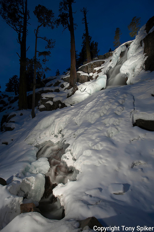 """""""Winter Evening at Eagle Falls 2"""" - A long exposure photograph of Eagle Falls on a winter evening lit by light painting"""