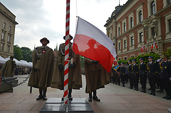 May 3, 2019 - Krakow, Poland - Guards of Honor at Grunwald Monument in Krakow..Hundreds take part of the patriotic march from Wawel Hill trough Krakow's Old Town on Polish Constitution Day. The Constitution of 3 May, 1791, was the world's second-oldest codified national constitution, but remained in force only for less than 19 months. By 1795, the Second and Third Partitions of Poland ended the existence of the sovereign Polish state. Over the next 123 years, the Constitution of 3 May was seen as proof of successful internal reform and as a symbol promising the eventual restoration of Poland's sovereignty. In April 1919 under the Second Polish Republic, May 3rd was the first holiday officially introduced in the newly independent Poland, but again outlawed during World War II by both the Nazi and Soviet occupiers, and finaly restored as an official Polish holiday in April 1990 after the fall of communism..On Friday, May 5, 2019, in Krakow, Poland. (Credit Image: © Artur Widak/NurPhoto via ZUMA Press)