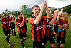 Saso Ogric of Primorje celebrates after the football match between NK Primorje Ajdovscina and NK Triglav Gorenjska of Second Slovenian football league, on May 16, 2010 in Vipava, Slovenia. Primorje placed first in 2.SNL and qualified for  PrvaLiga in season 2010/2011. (Photo by Urban Urbanc / Sportida)
