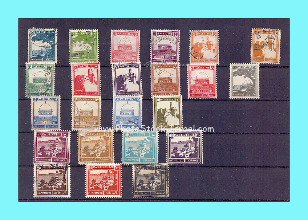 Palestine British mandate stamp collection used between 1927 to 1948